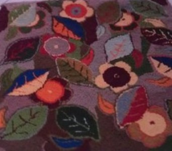 Funky   Autum Leaves  with rug wool  very heavy