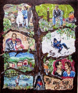 Family Tree story rug designed & hooked by Chris Noorbergen, Victoria AU