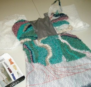 Rughooked with recycled fabrics