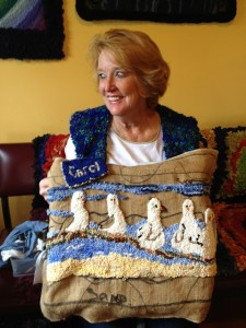 Hooked Wall Hanging and Vest by Carol Treloar
