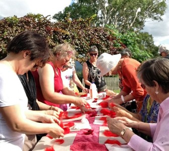 Making felted poppies