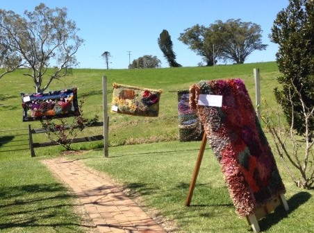 Garden_display_hand_hooked_rugs_Narrawilly_Milton_NSW_Australia