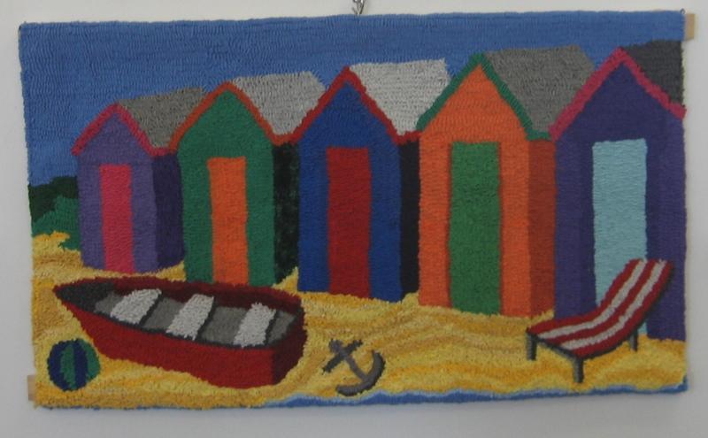 Beach_huts_hooked_by_Janet_Walker_NSW_Australia