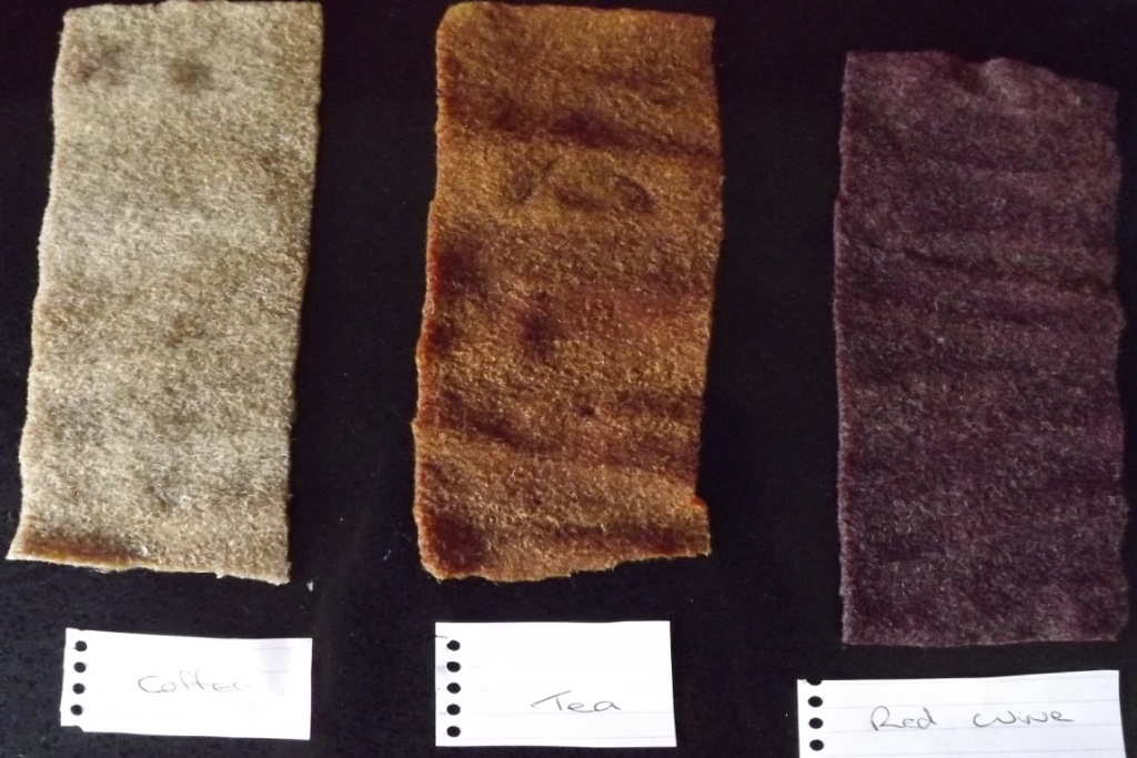 6 wool sample wet - coffee tea redwine