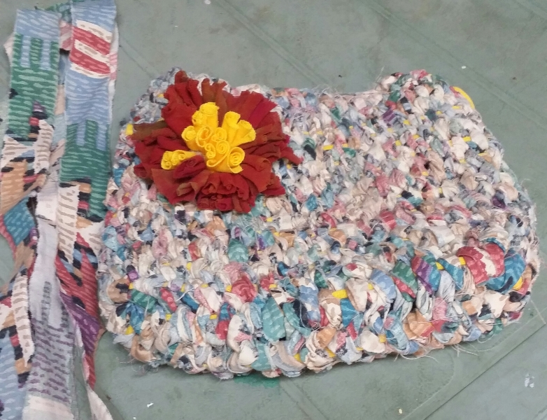 Toothbrush rugmaking bag by Sally Randle