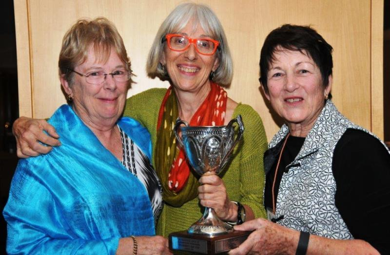 Susan Feller - 2015 recipient receiving Cup from Judith Stephens & Jo Franco - 2012 recipients